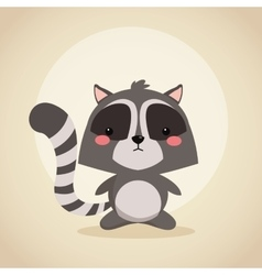 Raccoon cartoon icon woodland animal vector