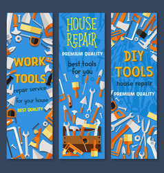 repair and construction tool cartoon banner set vector image vector image