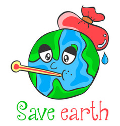 Save earth cartoon design style vector