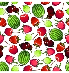 Seamless forest berries and garden fruits pattern vector