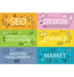 Set banners seo design finance flat vector