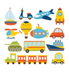 Set of cartoon transport Transportation theme vector image vector image