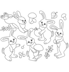 set of cute cartoon rabbits vector image vector image