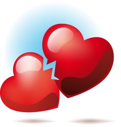 Two broken hearts vector image
