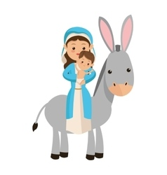 Virgin mary carrying baby jesus icon vector