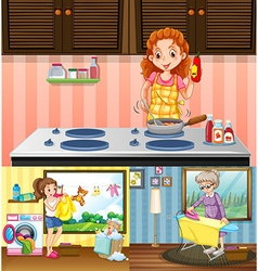 Women doing different chores in the house vector