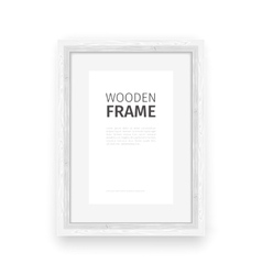 Wooden rectangle frame white vector