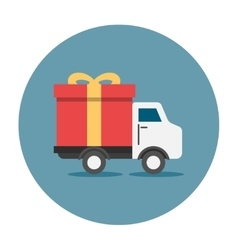 Truck delivey gift box vector