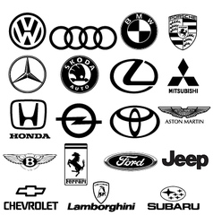 Black white car logos vector