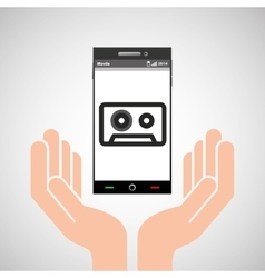 Hand mobile phone tape cassette vector