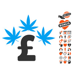 Cannabis pound business icon with valentine bonus vector