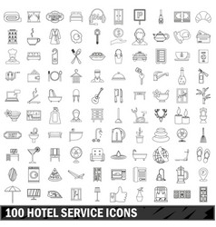 100 hotel service icons set outline style vector image