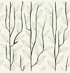 Thin delicate tree branch with leaves seamless vector