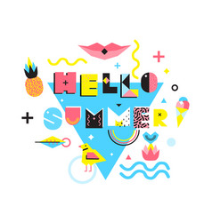 hello summer memphis style vector image