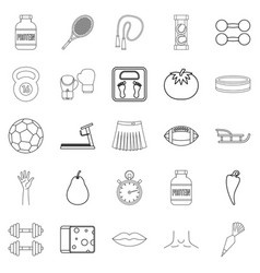 Track and field icons set outline style vector