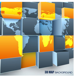 Abstract 3d background with world map vector