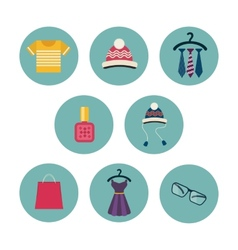 Series of eight flat icons the clothes and vector