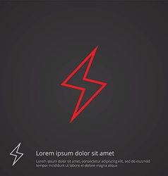 Lightning outline symbol red on dark background vector