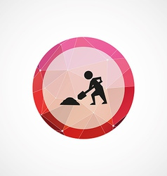 Construction works circle pink triangle background vector