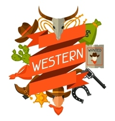 Wild west background with cowboy objects and vector