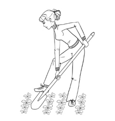 Young woman digging spring soil with shovel vector