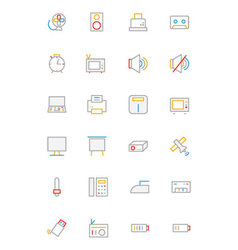 Electronics and devices colored outline icons 2 vector