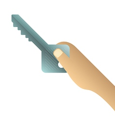 Hand holding key on white background vector