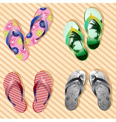Colorful flip flop set vector