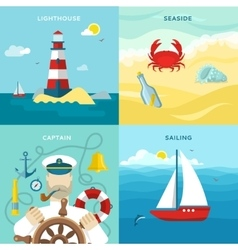 Nautical colored icon set vector