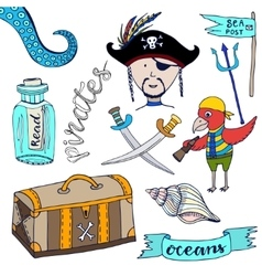 Cartoon pirates set hand drawn kids collection vector