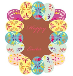 Background with frame of easter eggs vector