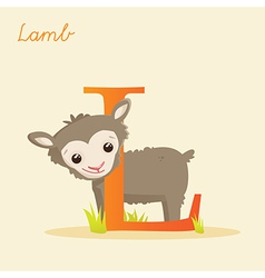 Animal alphabet with lamb vector