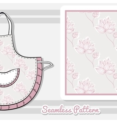 Apron Pink Flowers On Gray vector image vector image