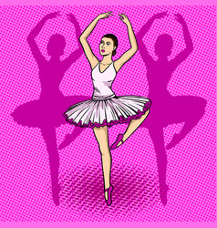 Ballet dancer pop art vector