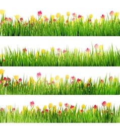 Beautiful easter border with grass and flowers eps vector