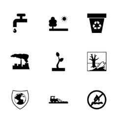 black eco icons set vector image vector image