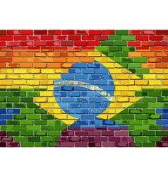 Brick wall brazil and gay flags vector