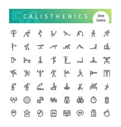 calisthenics line icons set vector image