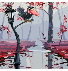cartoon crow sitting on a lantern in the autumn vector image vector image