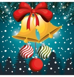 christmas card bell and balls red bow snowfall and vector image