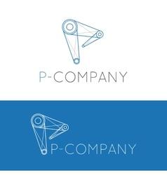 creative P letter crane logo vector image
