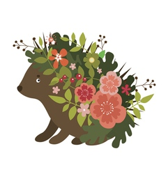 Cute hedgehog with leaves and flowers vector image