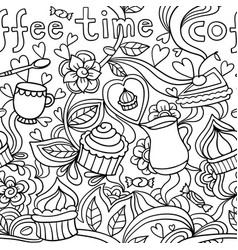 Doodle seamless pattern about coffee or tea time - vector