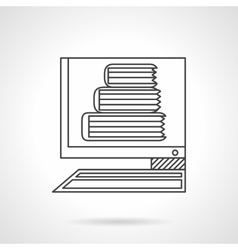 E-library flat line icon vector