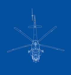 Engineering drawing of helicopter vector