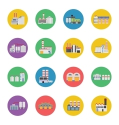 Flat industrial buildings and factories icons vector image vector image