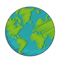 Geometric texture earth globe icon vector
