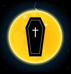 Halloween coffin moon thunderbolt lightning vector