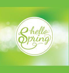 Hello spring poster with bokeh vector