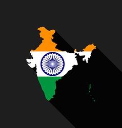 India flag map flat design vector